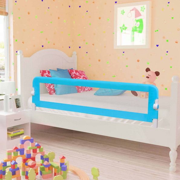 Sengegelænder til barneseng 120 x 42 cm polyester blå