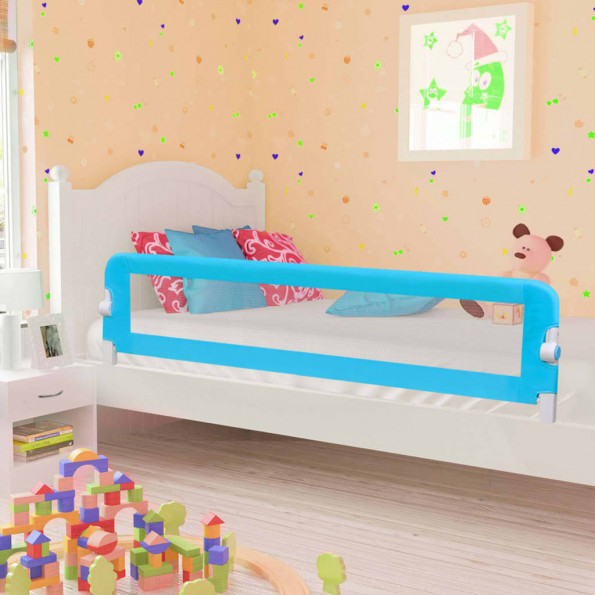Sengegelænder til barneseng 180 x 42 cm polyester blå