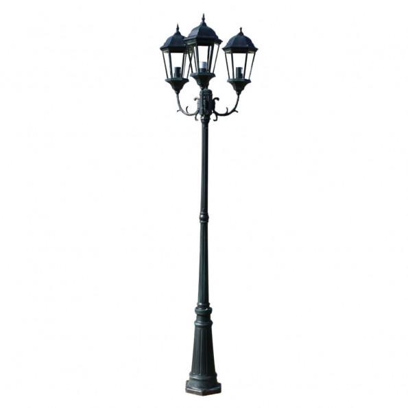 Brighton havelampe 3-armet 230 cm mørkegrøn/sort