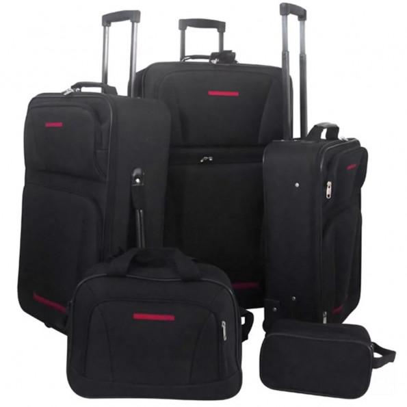 Kuffertsæt i fem dele sort