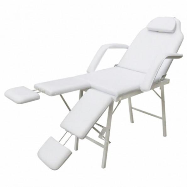 Mobil ansigtsbehandlingsstol kunstlæder 185 x 78 x 76 cm hvid