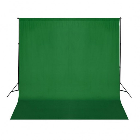 Fotobaggrund i bomuld grøn 300 x 300 cm chroma key