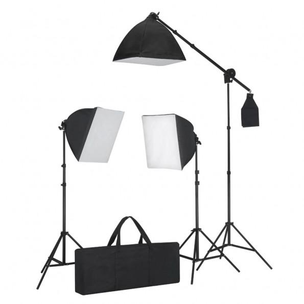 Belysningssæt 3 fotolys med stativ og softbox