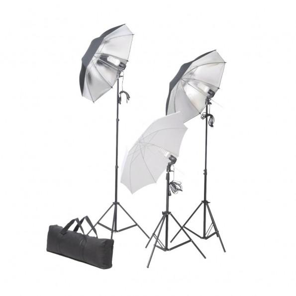 Studiobelysningssæt 24 watt stativer paraplyer