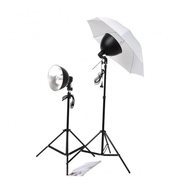 Studiobelysningssæt paraplyer lampeskærme stativer