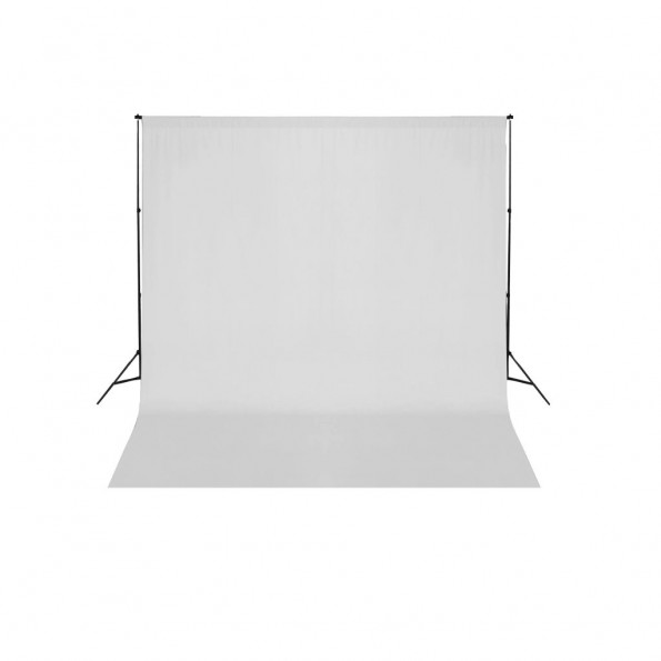 Stativsystem til fotobaggrund 600 x 300 cm hvid