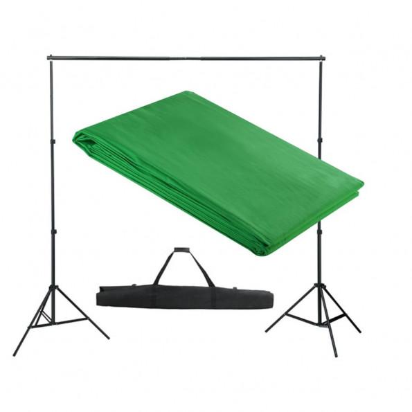 Stativsystem til fotobaggrund 300 x 300 cm grøn