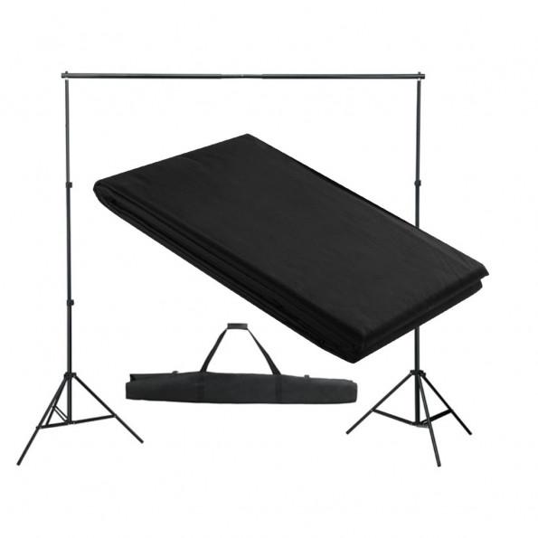 Stativsystem til fotobaggrund 300 x 300 cm sort