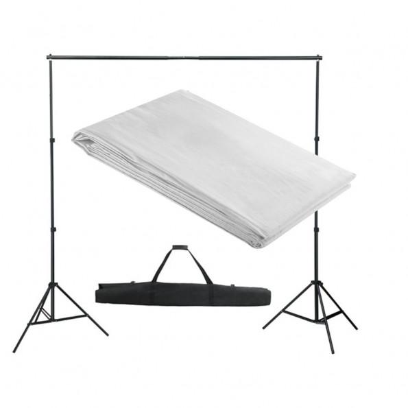 Stativsystem til fotobaggrund 300 x 300 cm hvid