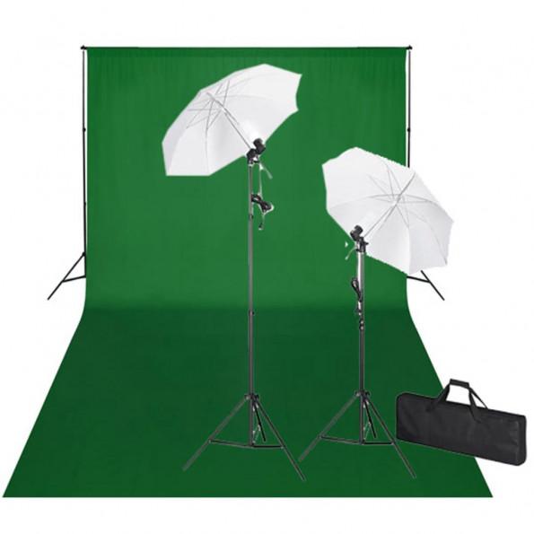 Studiosæt med grøn fotobaggrund og lamper 600 x 300 cm