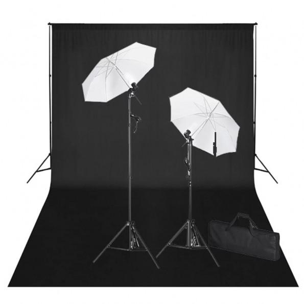 Studiosæt med sort fotobaggrund og lamper 600 x 300 cm