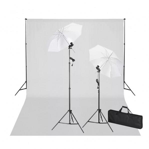Studiosæt med hvid fotobaggrund og lamper 600 x 300 cm
