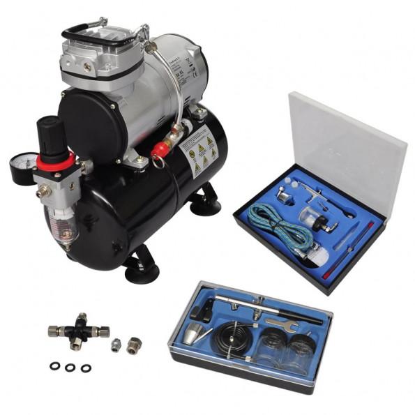 Airbrush-kompressorsæt med 2 pistoler