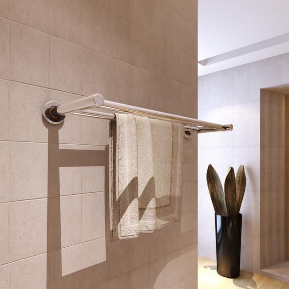 Håndklædeholder 2 rør rustfrit stål