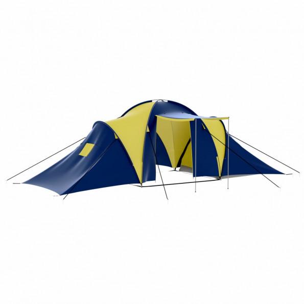 Campingtelt stof 9 personer blå og gul