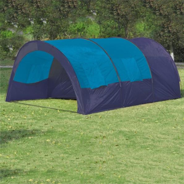 Campingtelt stof 6 personer mørkeblå og blå