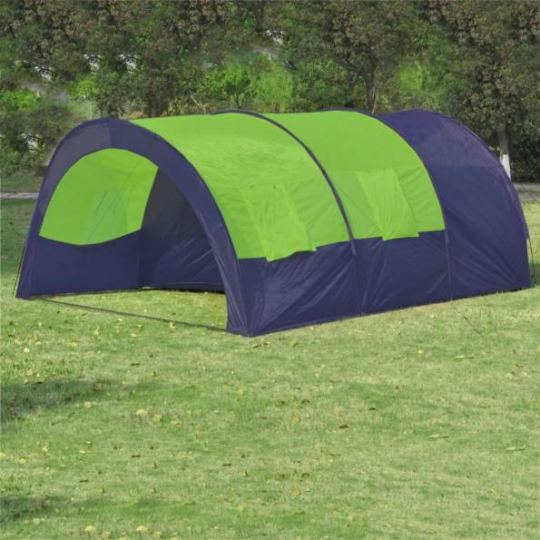 Campingtelt stof 6 personer blå og grøn