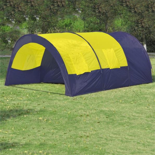 Campingtelt i polyester til 6 personer blå og gul