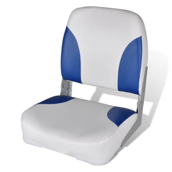 Bådsæde med foldbart ryglæn blå hvid 41 x 36 x 48 cm