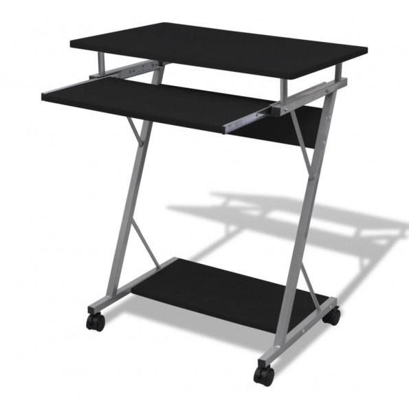 Kompakt computerbord med udtræksplade til tastetur sort