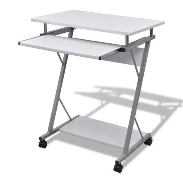 Kompakt computerbord med udtræksplade til tastetur hvid