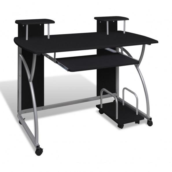 Computerbord med udtræksplade til tastetur sort