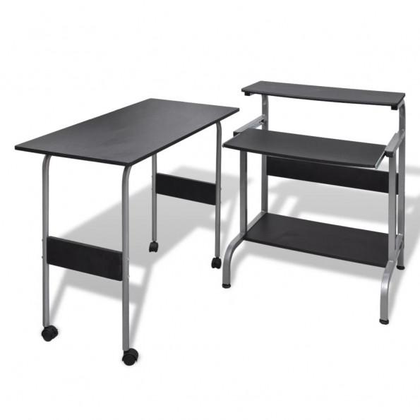 2 stk. computerbord med udtræksplade til tastetur sort