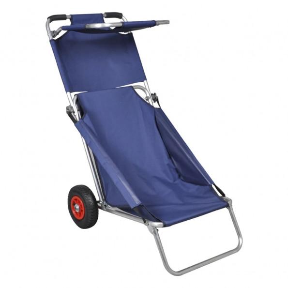 Strandvogn med hjul sammenfoldelig blå