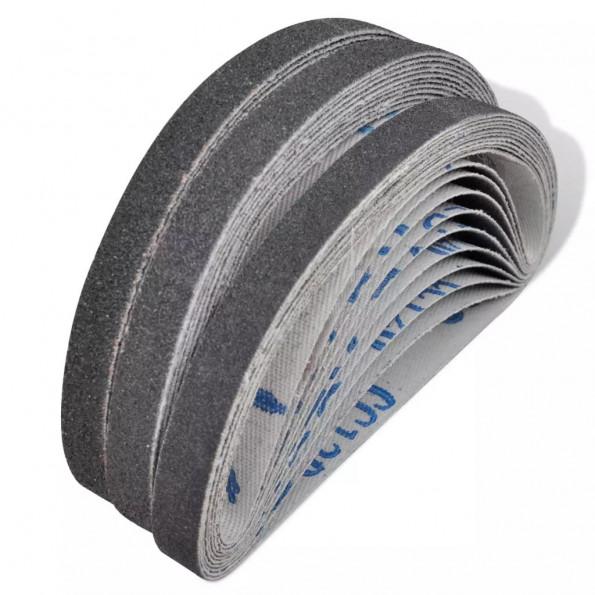 Slibebånd til pneumatisk båndsliber 30 stk. 10 x korn 60, 10 x korn 80, 10 x korn 120 10 mm x 330 mm