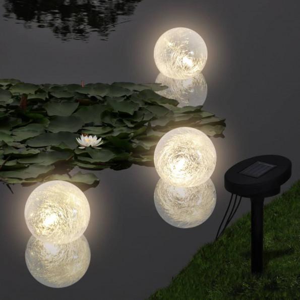 3 soldrevne LED-lyskugler til havebassin