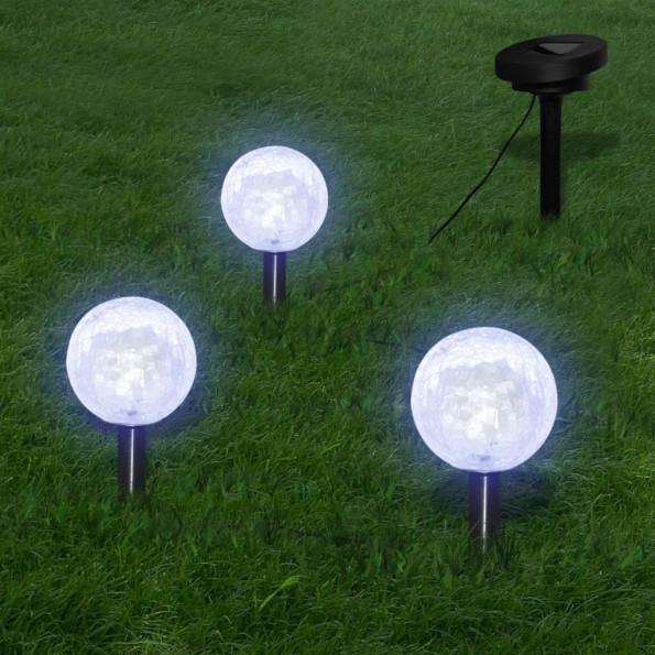 3 soldrevne lyskugler havebelysning med jordspyd og solpanel