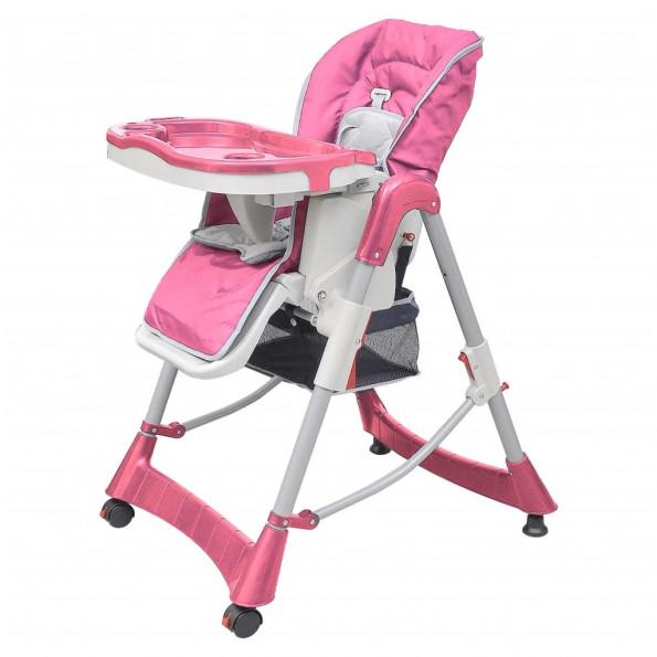 Babyhøjstol Deluxe lyserød højdejusterbar