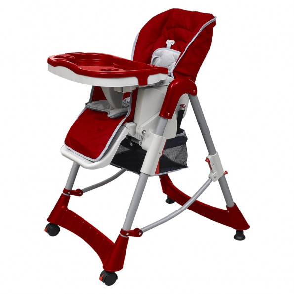 Babyhøjstol bordeauxrød højdejusterbar