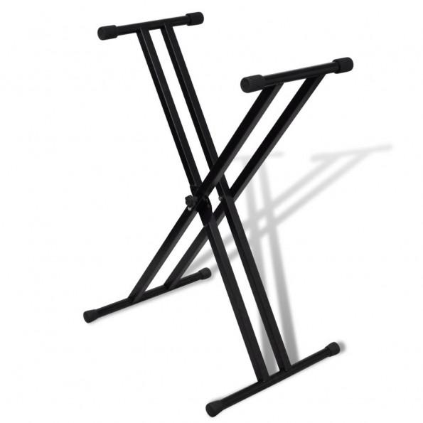 Justerbart, dobbelt afstivet keyboardstativ med X-ramme