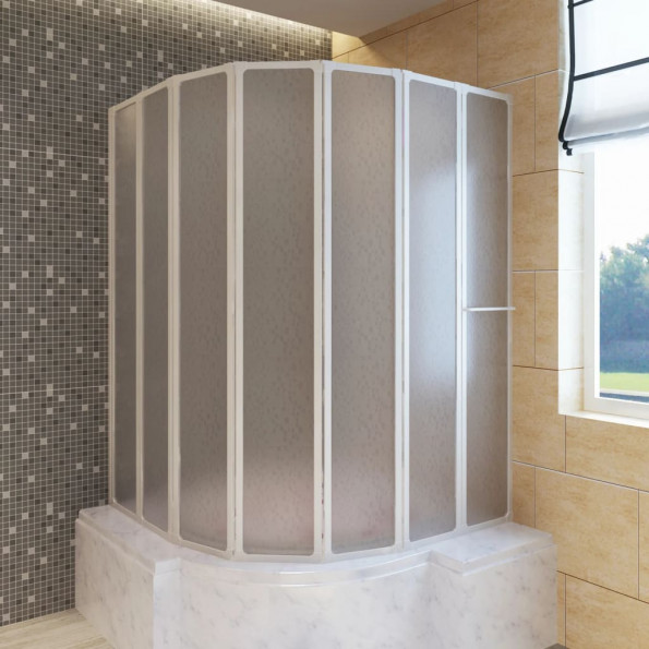 Bad Skærm 140 x 168 cm 7 Foldbare Paneler med håndklædeholder