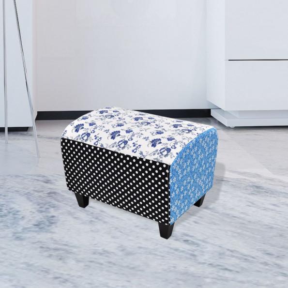 Patchwork fodskammel/ottoman med blomster og prikker, blå og hvid