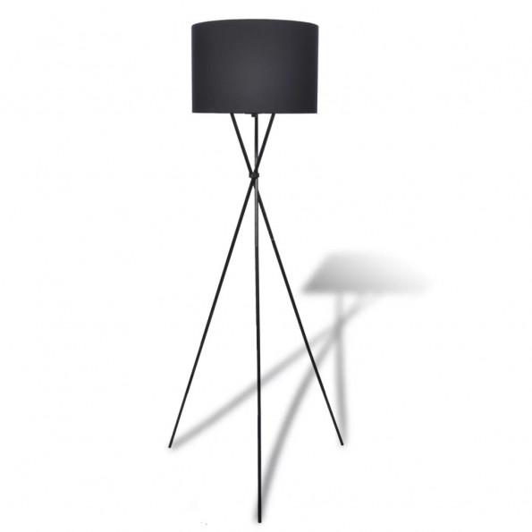 Gulvlampeskærm med høj stander sort