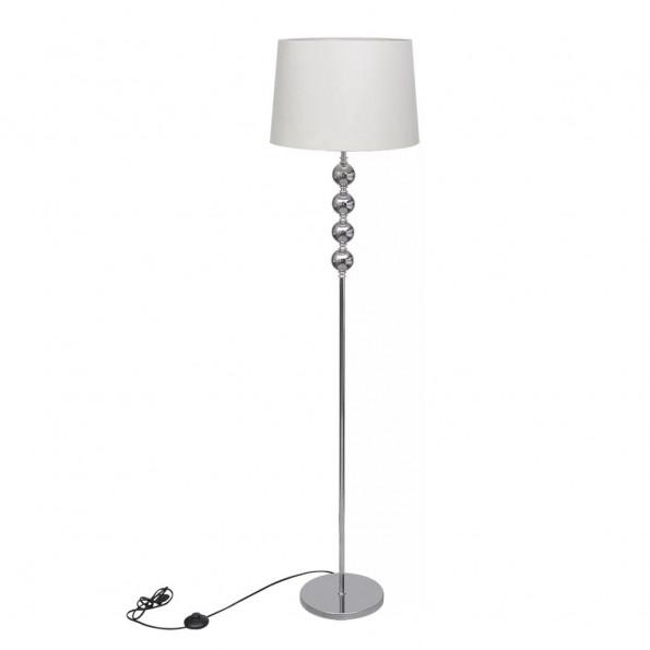 Gulvlampeskærm med høj stander 4 kugler hvid