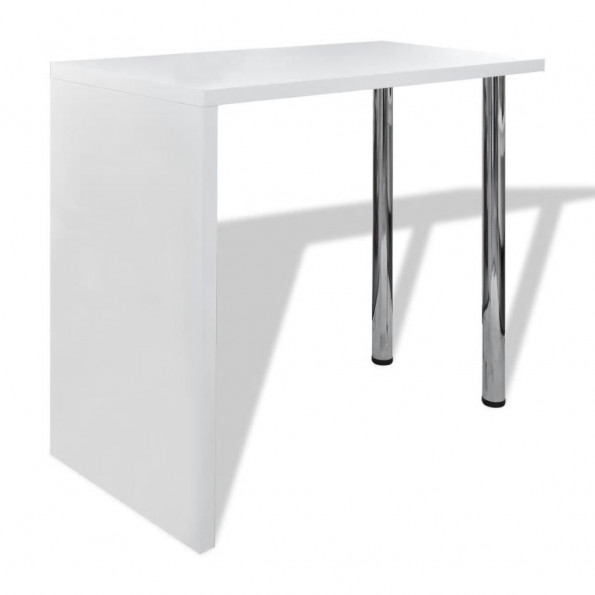 Barbord med 2 stålben MDF højglans hvid