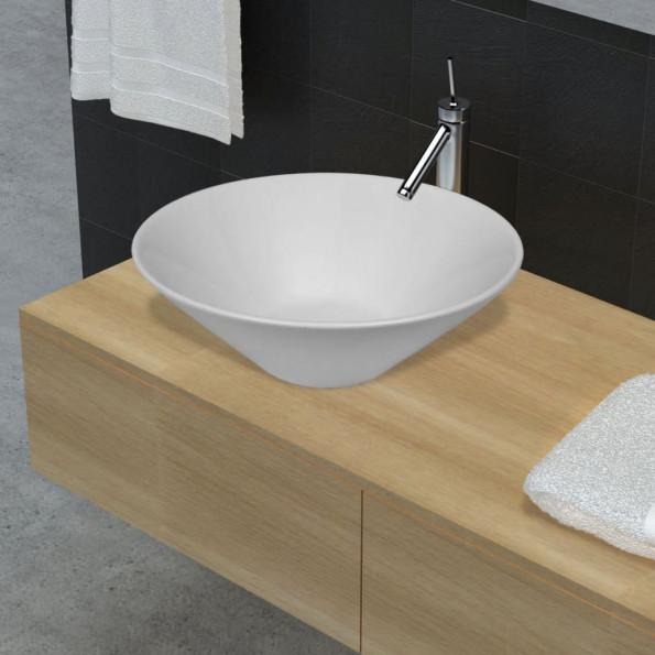 Badeværelsesvask keramisk skål hvid