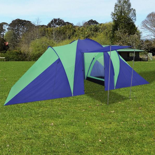 Campingtelt 6 personer marineblå/grøn