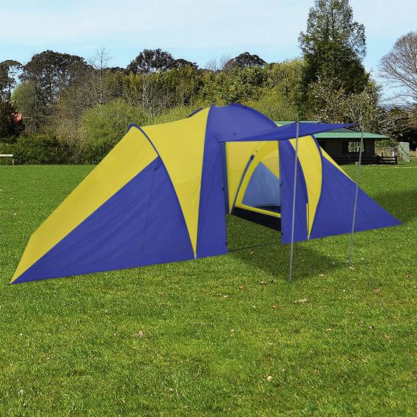 Campingtelt 6 personer marineblå/gul