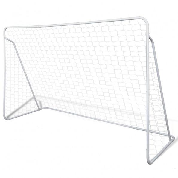Fodboldmål med net i stål 240 x 90 x 150 cm høj kvalitet