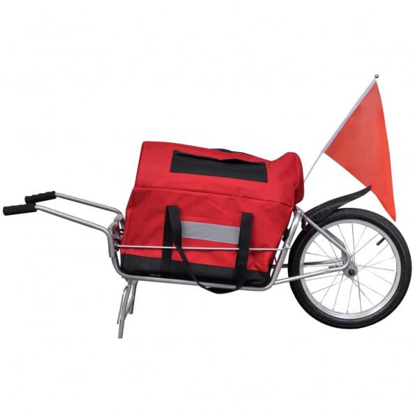 Ethjulet cykelanhænger med opbevaringstaske