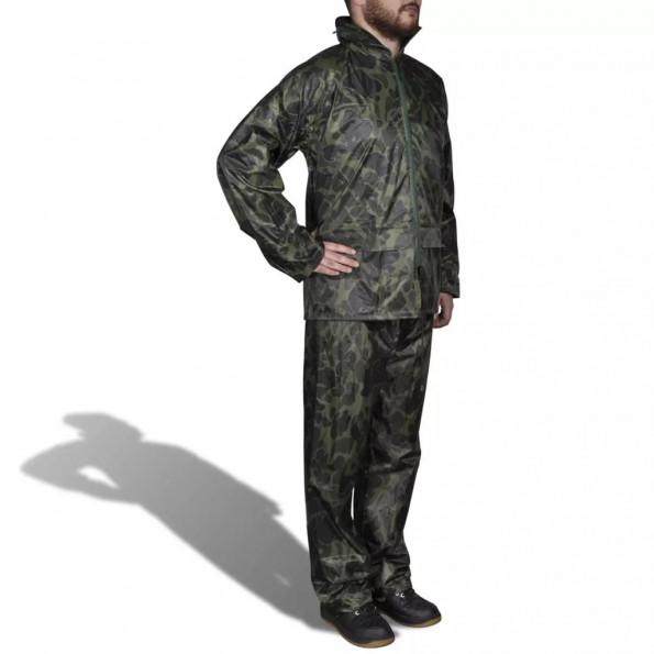2-delt regnsæt i kamo mønster med hætte til herrer, størrelse XXL