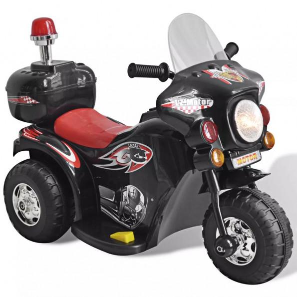 Batteridrevet legetøjsmotorcykel i sort