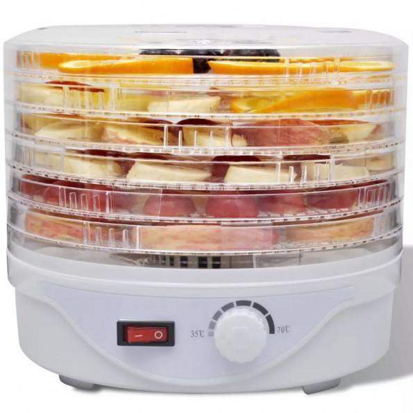 Fødevaredehydrator med 6 stabelbare bakker (rund)