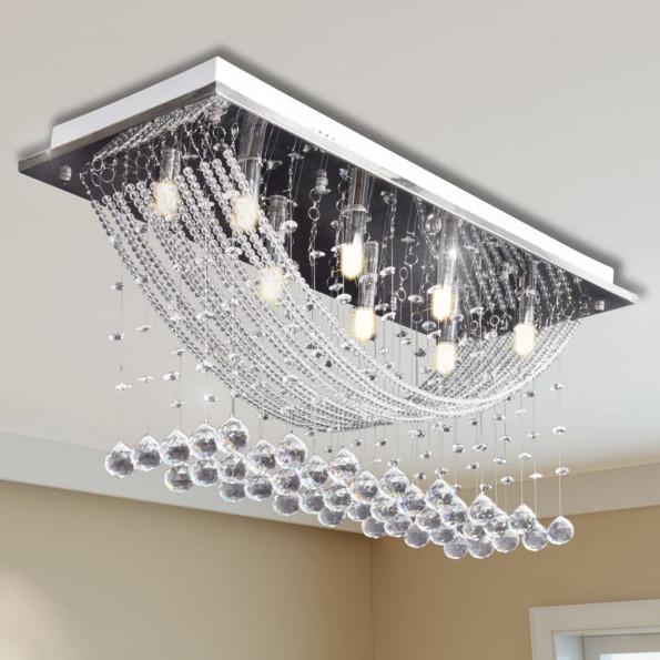 Hvid Loft Lampe med glitrende Glas Crystal Beads 8 x G9 29 cm