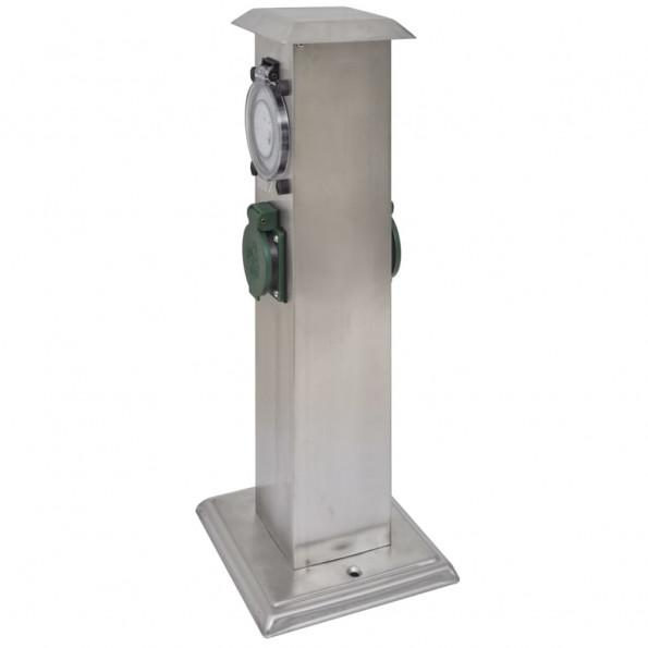 Udendørs stikkontaktstolpe med timer rustfrit stål