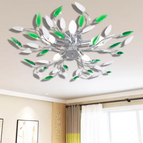 Grøn og Hvidt Loft Lampe med Akryl krystal Blad våben for 5 E14 Pærer